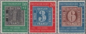 113-115 Centenary of German Postage Stamps