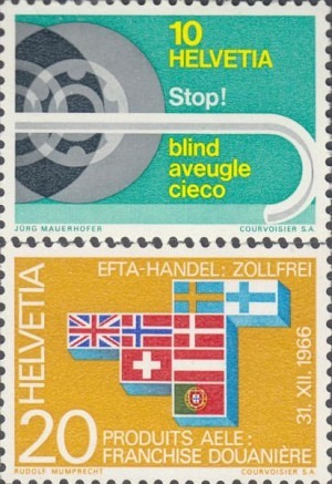 851-852 Blind Protection by a white Cane; Abolition of the customs Barriers between the EFTA Countries